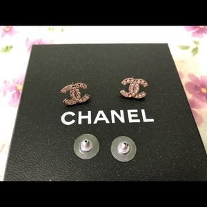 AUTHENTIC CHANEL EARRINGS CLASSIC CC RHINESTONES